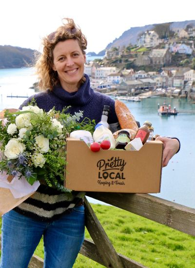 Pretty Local owner Andrea Wilson with a hamper of goodies